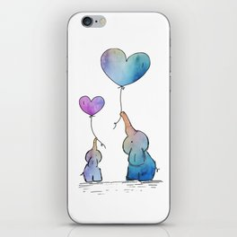 Colorful Watercolor Elephants Love iPhone Skin
