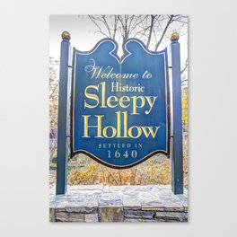 Sleepy Hollow Town Sign Canvas Print
