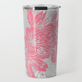 Cherry Blossom Grey Block Print Travel Mug