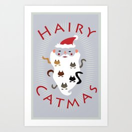 Hairy Catmas Art Print