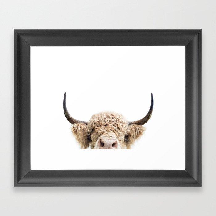 Peeking Highland Cow Framed Art Print By Katypie Society6