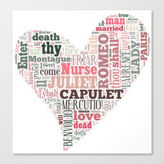 Shakespeare's Romeo and Juliet Heart Canvas Print
