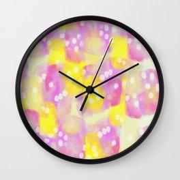 Lemonade Abstract Watercolor Pattern Wall Clock