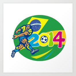 Brazil 2014 Soccer Football Player Retro Art Print
