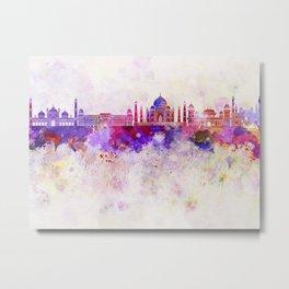 Agra skyline in watercolor background Metal Print