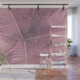 Pink Palm Leaves Urban Jungle Wall Mural