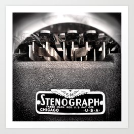 Stenograph Typewriter Author Court Stenography Stenographer Law Lawyer Attorney Art Print