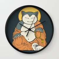 snorlax Wall Clocks featuring Hotei Snorlax by Mallory Hodgkin