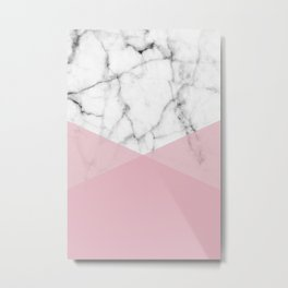 Real White marble Half Rose Pink Modern Shapes Metal Print