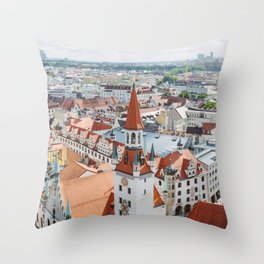 Aerial City View from the Church of St. Peter Tower in Munich, Germany Throw Pillow