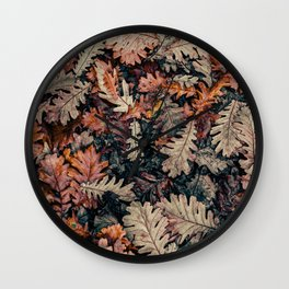 Autumn Leafs Pattern (Color) Wall Clock