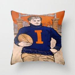 Vintage poster - Illinois Football Throw Pillow