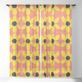 Black Eyed Susan On Coral Sheer Curtain