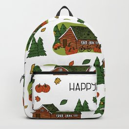Brown scandinavian greenlandian wooden houses, trees, forest, maple leaf, spiders, cobweb, grass on the roof with white borders and Happy autumn text, can be used as seamless pattern Backpack