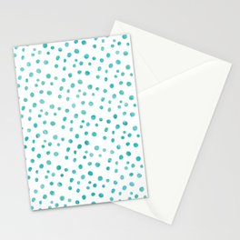 Small Blue Watercolor Abstract Polka Dots Stationery Cards