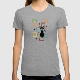 Mid Century black cat T-shirt