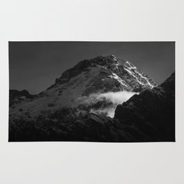 Black and white windy snowy mountain Rug