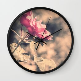 Hope (Hibiscus Pink Rose with Inspirational Quote) Wall Clock