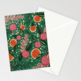 green orange pomegranate art print Stationery Cards