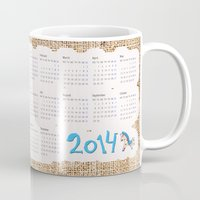 calendar Mugs featuring 2014 horse calendar (europe) by Katja Main