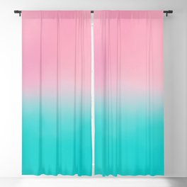 Artistic blush pink tropical turquoise watercolor ombre Blackout Curtain