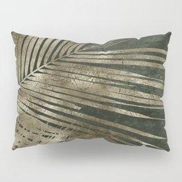 Golden green palm leaves pattern Pillow Sham