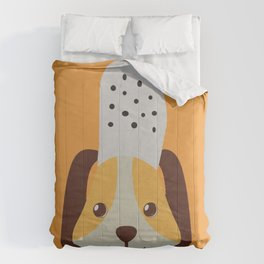 cute doggo with croc on the head - orange Comforters