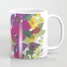 Purple Hollyhock Garden Coffee Mug