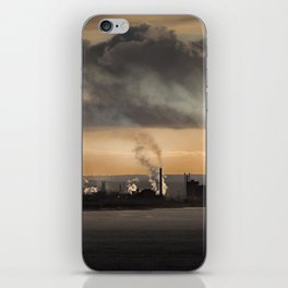 Sunrise over the steel works of Port Talbot and Swansea Bay iPhone Skin
