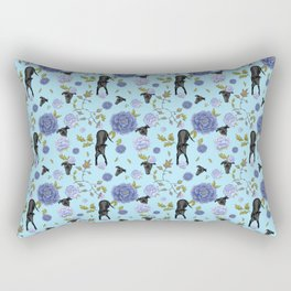 Cute Black Greyhounds on Blue Floral Chinoiserie Pattern Rectangular Pillow