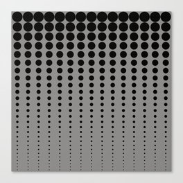 Reduced Black Polka Dots Pattern on Solid Pantone Pewter Background Canvas Print