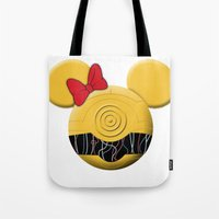 c3po Tote Bags featuring C3PO Mouse  by Miranda Copeland