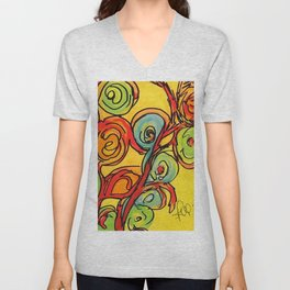 Round flowers, yellow fun Unisex V-Neck