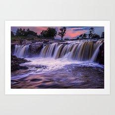Sunset Waterfalls in Sioux Falls Art Print
