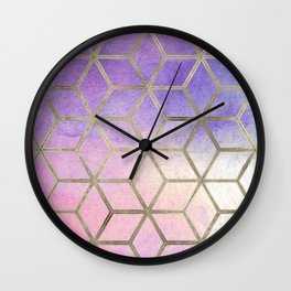 Pixie dust geometric watercolor Wall Clock