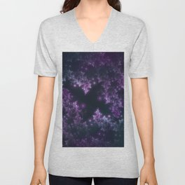 Fractal Leaves Violet Glow Unisex V-Neck