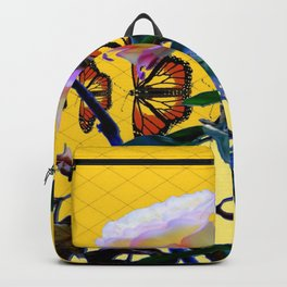 MONARCH BUTTERFLIES & ROSE ABSTRACT Backpack