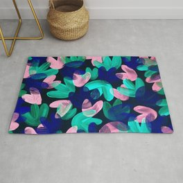 Vibrant Acrylic Painting Layered Tulips Floral Pattern Multi Colors Pink Blue Mint Green Rug
