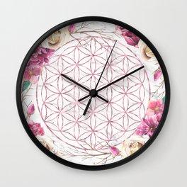 Mandala Rose Gold Garden Pink Red Yellow Wall Clock