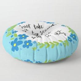 Ten Seconds - Blue Floor Pillow