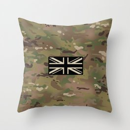 British Flag: Woodland Camouflage Throw Pillow