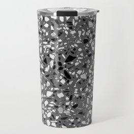 Dark Grey Monochrome Speckles Terrazzo Pattern Stone Effect Travel Mug