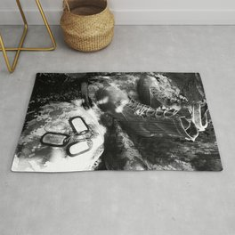 Army art black and white Rug