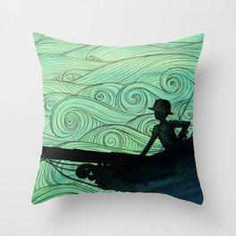 Sailing The Stormy Night Seas Throw Pillow