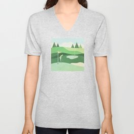 On The Green Two Stokes Under Unisex V-Neck