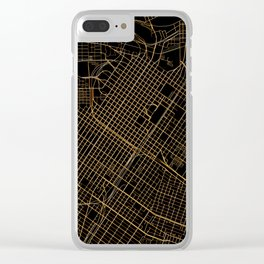 Black and gold Houston map Clear iPhone Case