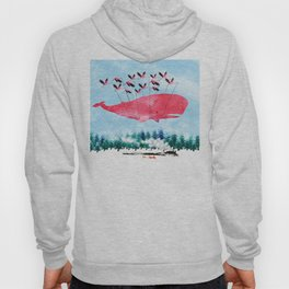 Flying Whale and steam train with Foxes Hoody