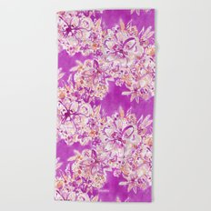 GOOD VIBES Wild Pink Watercolor Floral Beach Towel