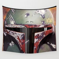 boba Wall Tapestries featuring Boba Fett by Mel Hampson