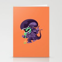 xenomorph Stationery Cards featuring Cute Xenomorph by nocturnallygeekyme